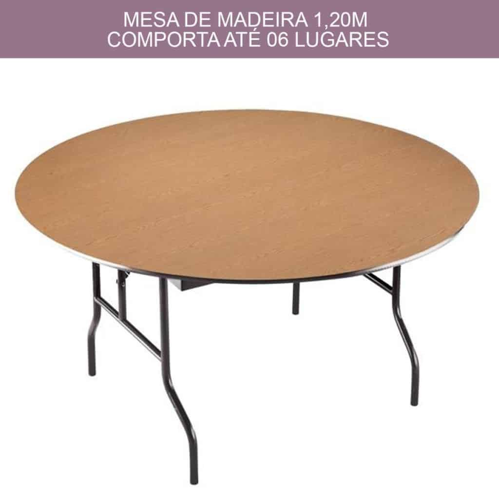 Mobília Redonda de Madeira 120m para 6, 8 e 10 Lugares / Pessoas
