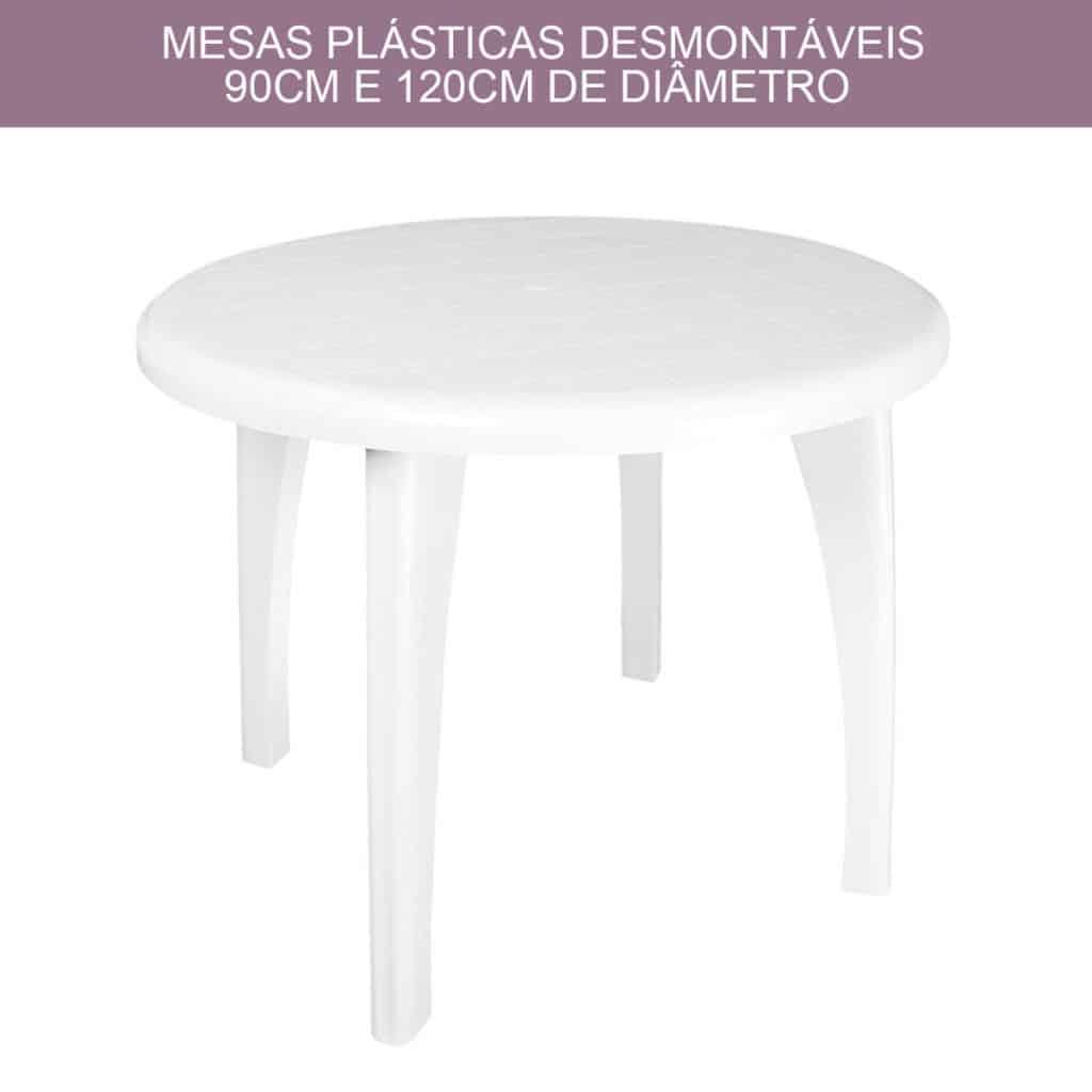 Mesas Redondas de Plástico 120cm para 6, 8 e 10 Pessoas / Lugares